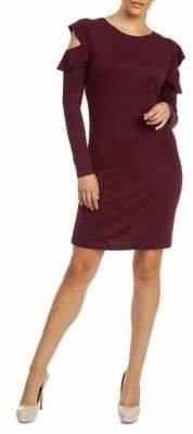 Dex Ruffle Cold Shoulder Long Sleeve Dress