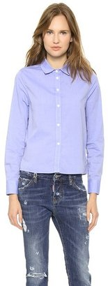 Band Of Outsiders Boxy Shirt with Multi Plaid Gussets
