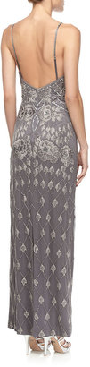 Sue Wong Embellished Column Gown, Charcoal