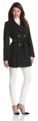 Via Spiga Women's Double-Breasted Belted Spring Trench Coat With Pleating
