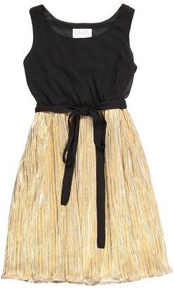Us Angels Blush Tank Dress w/ Pleat Skirt (Big Kids) (Black/Gold) - Apparel