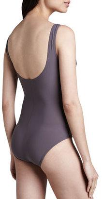 Karla Colletto Basic Square-Neck One-Piece Swimsuit, Dove