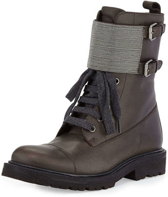 Brunello Cucinelli Lace-Up Monili Combat Boot, Graphite