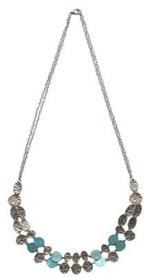 """Women's Fashion Multi-Strand Necklace - Silver/Turquoise(33"""")"""
