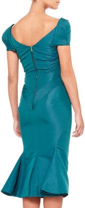 Zac Posen Short-Sleeve Silk Duchesse Dress, Teal