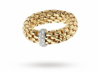 Fope 18ct Yellow Gold Vendome FlexIt 0.10ct Diamond Ring - Ring Size M