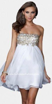 La Femme White Gold Chiffon Cocktail Gowns
