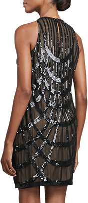 Nicole Miller Deco Sequined Cocktail Dress