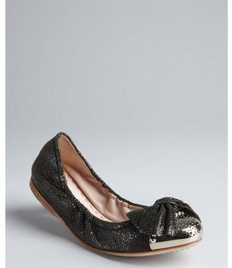 Miu Miu Miu anthracite crackle leather bow detail metal cap toe ballerina flats