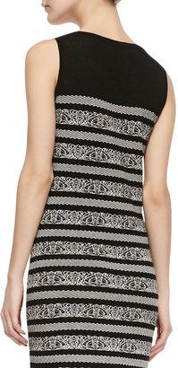 Carmen Marc Valvo Carmen by Sleeveless Birdseye-Print Sweaterdress, Black/White