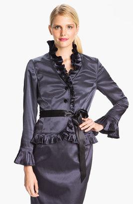 Adrianna Papell Ruffle Trim Satin Jacket (Petite)