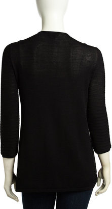 Neiman Marcus Ribbed Open-Front Cardigan, Black