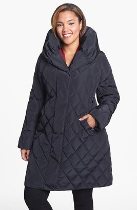 Gallery Pillow Collar Down & Feather Coat (Plus Size)