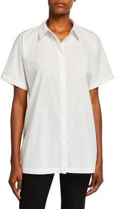 Eileen Fisher Short-Sleeve Organic Cotton Stretch Lawn Long Shirt