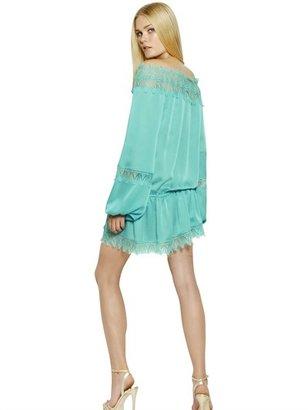 Blumarine Off Shoulder Cotton Silk Georgette Dress