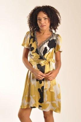 Corey Lynn Calter Harmony Silk Wrap Dress in Gold