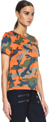 Valentino Camouflage Cotton Tee in Fluo Orange