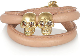 Alexander McQueen Leather and Swarovski crystal wrap bracelet
