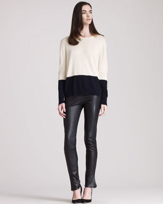 The Row Leather Leggings With Ankle Slits