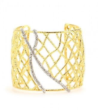 Alexis Bittar PAVE CRYSTAL ACCENTED WOVEN GOLD MEDIUM CUFF