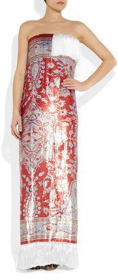 Maison Martin Margiela Carpet-patterned sequined silk gown