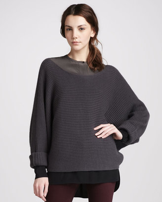 Vince Ribbed Boat-Neck Sweater, Elephant