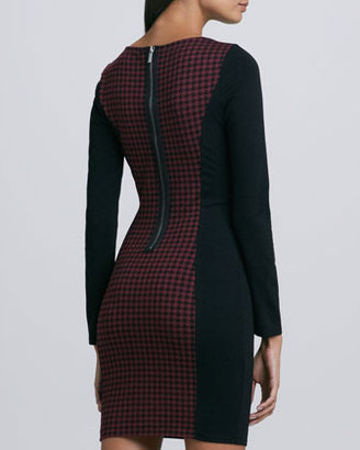 Ella Moss Tippy Long-Sleeve Checker Dress, Burgundy