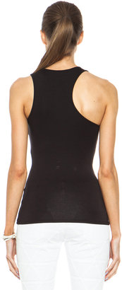 McQ by Alexander McQueen Cut Out Viscose-Blend Tank in Velvet Black