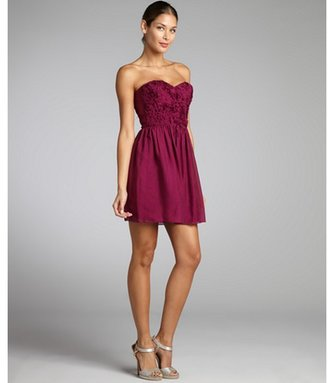 Rebecca Taylor berry textured silk rose detail strapless dress