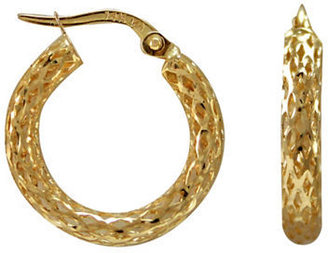 Lord & Taylor 14 Kt.Yellow Gold Textured Hoops