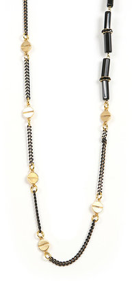 Glynneth B 24K Gold Plated Screw and Onyx Necklace