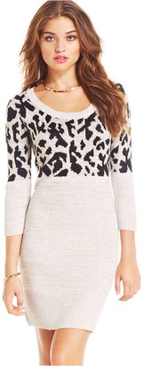 Takeout Take Out Juniors' Three-Quarter-Sleeve Graphic Sweater Dress