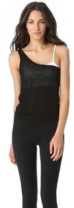 So Low SOLOW One Shoulder Mesh Tank