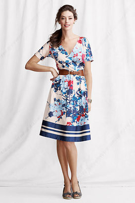 Lands' End Women's Petite Short Sleeve Border Stripe Faux Wrap Dress