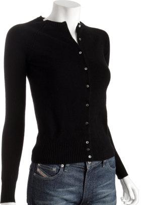 Hayden black 12gg cashmere cardigan