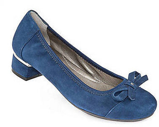 Me Too Mila Leather Capped-Toe Pumps with Bow Accent