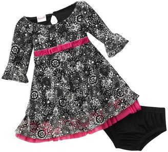 Nannette floral print dress & bloomers set - baby