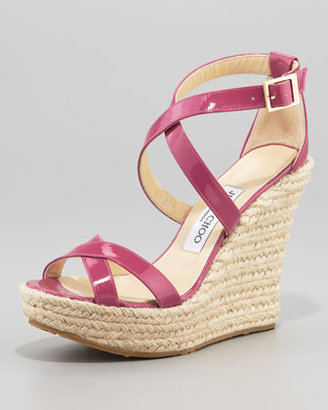 Jimmy Choo Porto Patent Espadrille Wedge, Pink