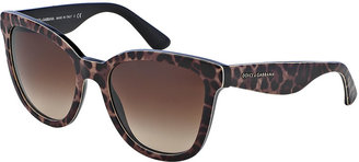 Dolce & Gabbana Leopard-Print Square Sunglasses