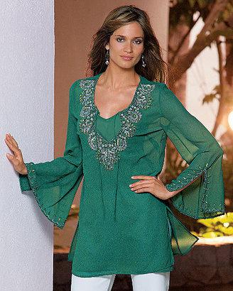 Newport News Together® Jeweled georgette tunic