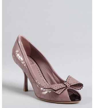 Christian Dior wisteria cannage patent leather bow detail platform pumps