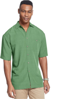 Campia Moda Short Sleeve Microfiber Soft Touch Solid Texture Shirt $50 thestylecure.com