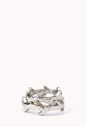 Forever 21 Dimpled Leaf Ring Set