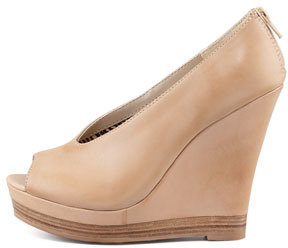 Seychelles Storytelling Peep-Toe Leather Wedge, Vachetta