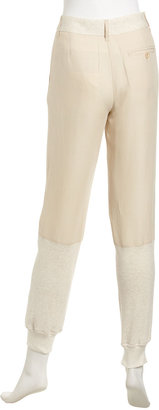 See by Chloe High-Waist Fleece-Panel Pants