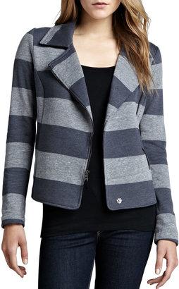 Splendid Striped Fleece Motorcycle Jacket, Gray