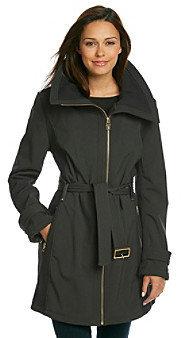 MICHAEL Michael Kors Softshell Coat with Knit Collar