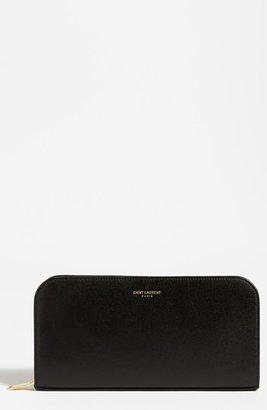 Saint Laurent Zip Around Leather Wallet