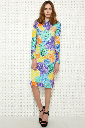 House of Holland Floral Long-Sleeved Pom Pom Dress
