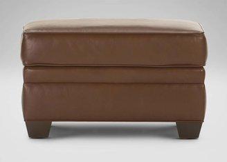 Ethan Allen Bennett In-Stock Leather Ottoman, Devine/Acorn
